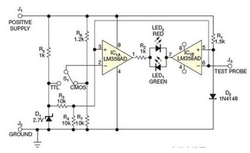 一款在IC1B的非反相输入端设定电压的逻辑元件的逻辑探头电路图