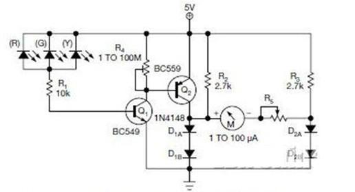 一款可以用作光电二极管的围环境光强度的照度计电路