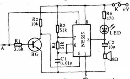 一款全部元件装置在一台袖珍收音机机壳中的声光数字电平检测器电路图