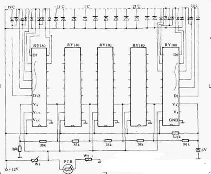 一款采用单片双极型集成电路制作的光带式模拟温度计电路图
