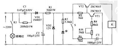 一款通过延时电路实现开关自动关闭的楼道照明节电开关电路图