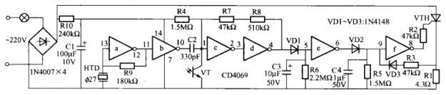 光控节能灯座电路