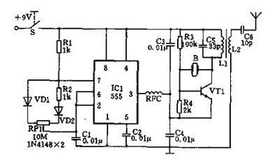 一款由集成模块555 定时器构成占空比振荡器的无线遥控器电路图