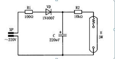 一款延时时间由r,c的乘积来决定的小功率顺序点燃灯