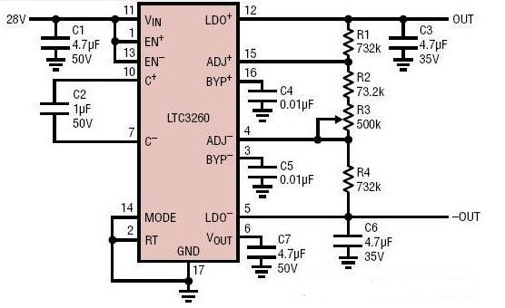 双通道跟踪双极性电源电路