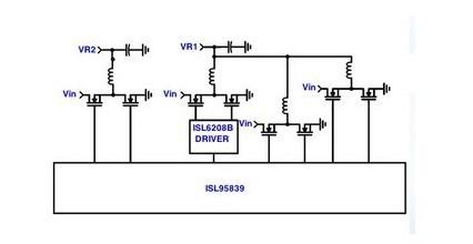 一款由ISL95839脉冲宽度调制(PWM)控制器控制的电流监视器电路图