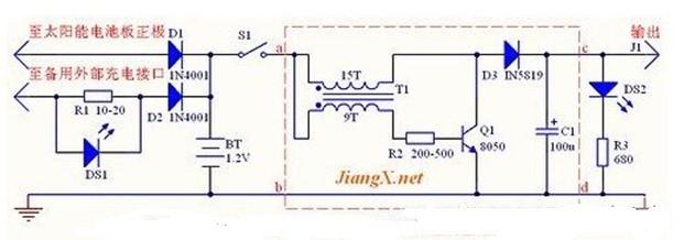 太阳能供电板电路