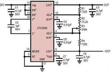双通道跟踪双极性电源电路图