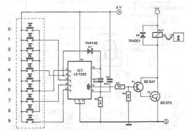 使用ls7220集成电路的电子锁