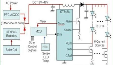 一款采用多串的升压结构设计通过DC输入对LED做恒流控制电路图