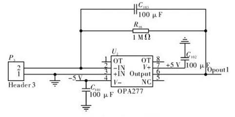 一款由高精度运算放大器opa277芯片构成的光电转换及压流转换电路图