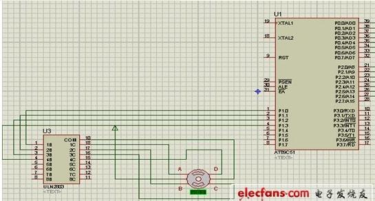 一款利用电子电路将直流电变成分时供电的步进电机图