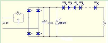 电容降压LED驱动电路图
