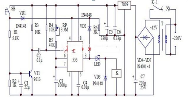 可变电阻器来实现改变定时时间的抗干扰定时器电路图
