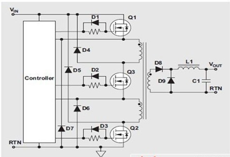 一款提供了恢复电源变压器的降压转换器下坡补偿电路图