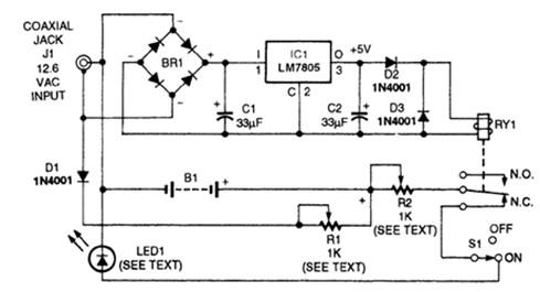 led充电手电筒电路图