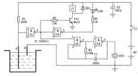一款主机可实时检测水池水深信号进行高低水位控制的水位控制器电路图