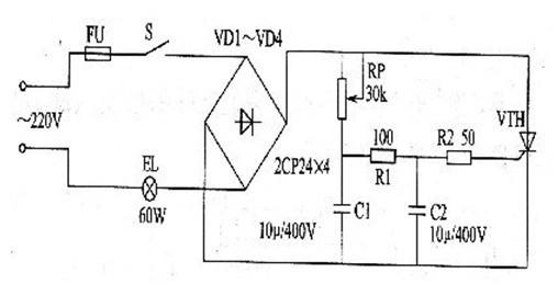 一款调节RP可改变灯泡E的亮度大小的晶闸管调光灯电路