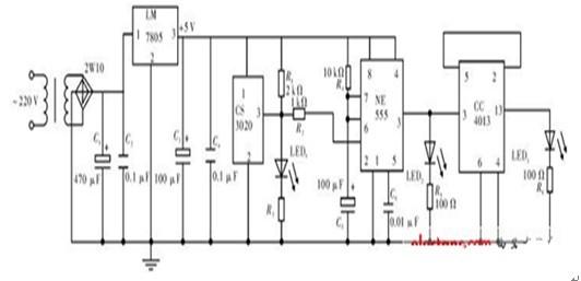 一款能根据灯光亮度的强弱调节灯光自动调节的定时控制自动照明电路图