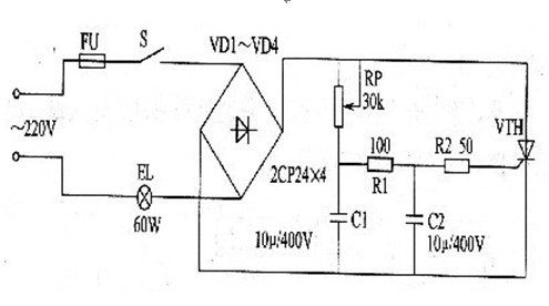 一款导通时间与所加的脉冲宽度及门极电流大小有关的晶闸管调光灯电路