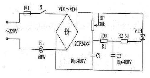 一款导通时间与所加的脉冲宽度及门极电流大小有关的晶闸管调光灯电路图片