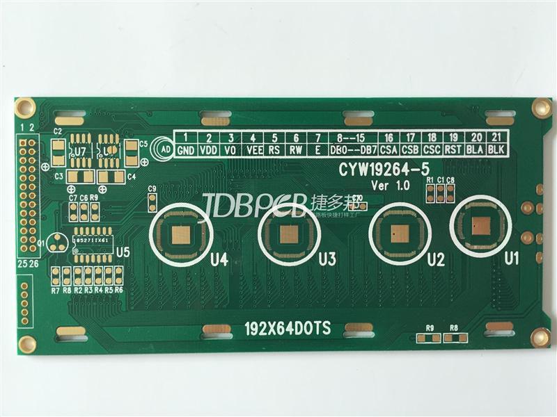 绿油沉金绑定IC 双面PCB板