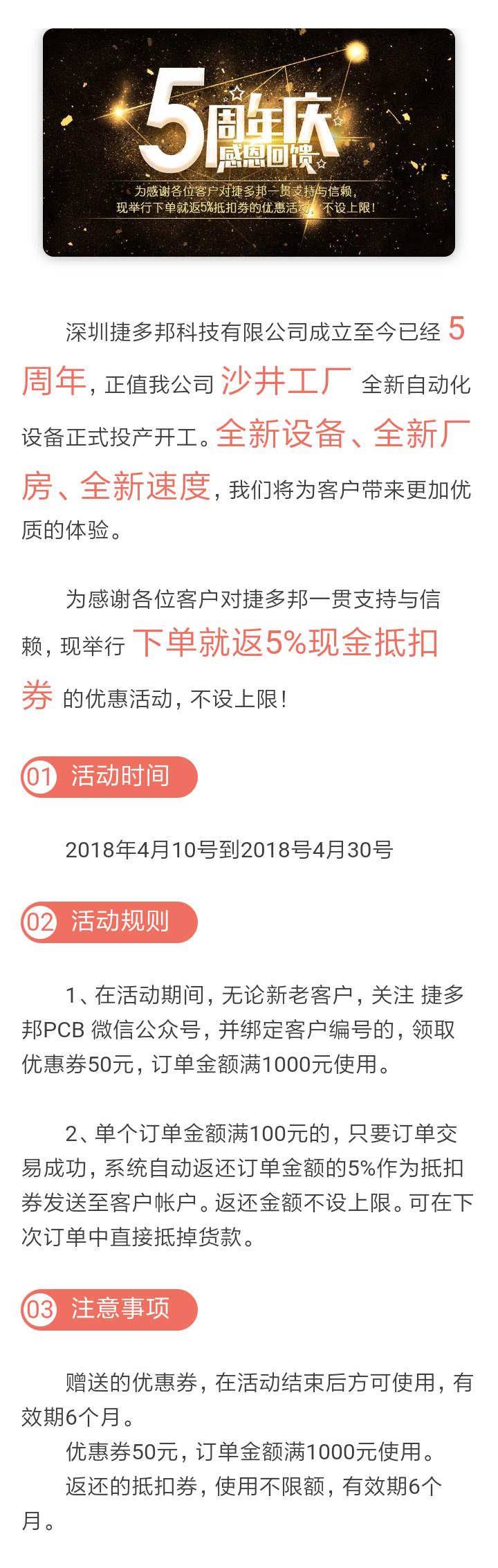 【优惠活动】庆捷多邦5周年 下单立返5%抵扣券